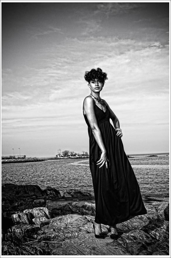 model outdoors black and white