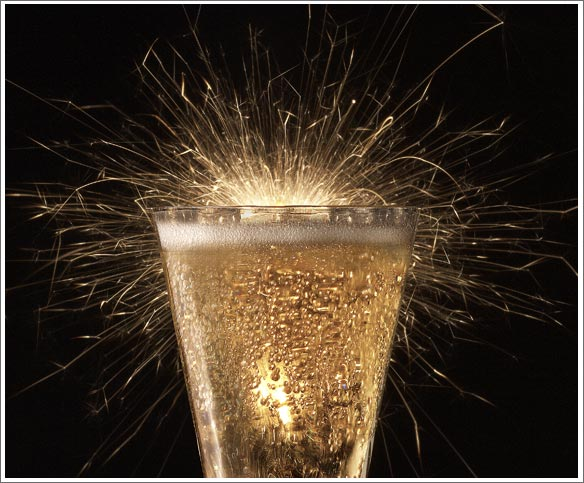champange glass with sparklers
