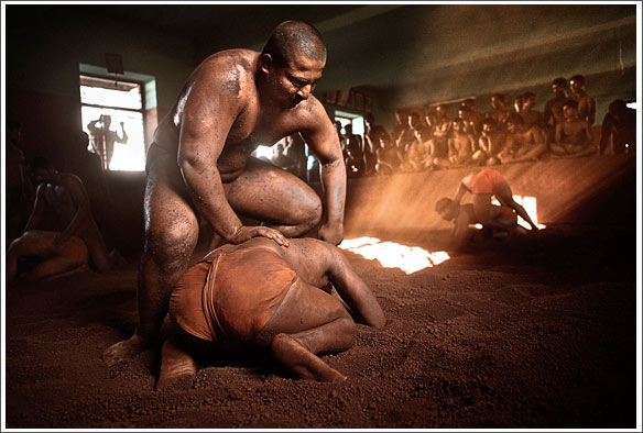 Kushti wrestlers natural light